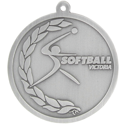 Softball Victoria Medal Antique Silver
